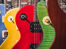 Electric Guitars Music Instrument Colourful Collection Shop Display