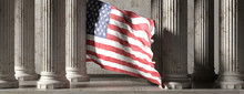 US Flag, Classic Columns Historical Building. 3d Illustration