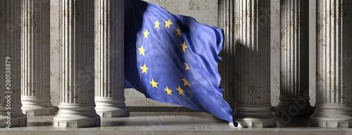 Fototapeta EU flag, classic columns historical building. 3d illustration obraz
