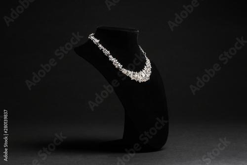 Elegant necklace on stand against black background Fototapete