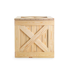 One Closed Wooden Crate Isolated On White