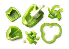 Cut Green Bell Peppers On White Background, Top View