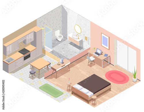 Interior Furniture Isometric Colored Composition