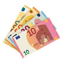 Euro Banknotes Flat Vector Ill...