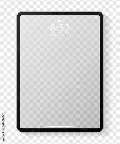 Fototapeta Realistic tablet computer mockup with transparent empty lock screen. Modern tablet PC template design isolated on transparent background. Vector Illustration obraz na płótnie