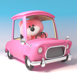 Funny pink teddy bear character is driving her pink cartoon car, 3d illustration