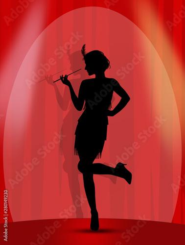 Fototapeta premium kobieta w stroju charleston na scenie