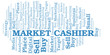 Market Cashier word cloud. Vector made with text only.