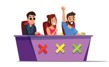 Talent Show Judges Flat Vector Illustration