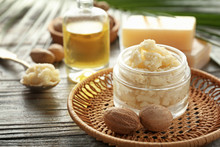 Jar With Shea Butter On Wooden...