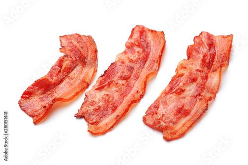 Photo Fried bacon on white background
