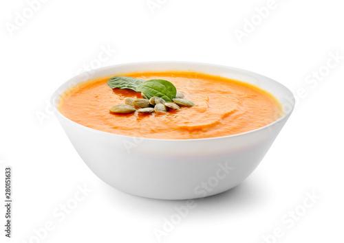 Bowl with delicious cream soup on white background Fototapeta
