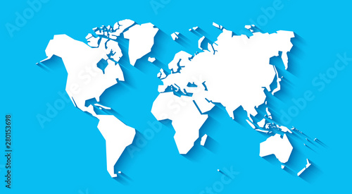 Simplified world map. Stylized vector illustration