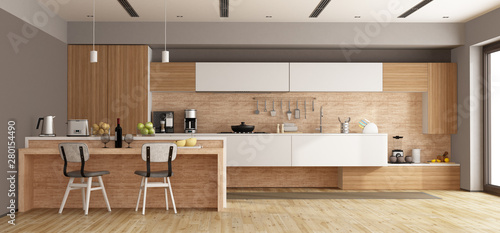 Valokuva  White and wooden modern kitchen with island - 3d rendering