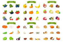 Natural Food Flat Vector Illustrations Set