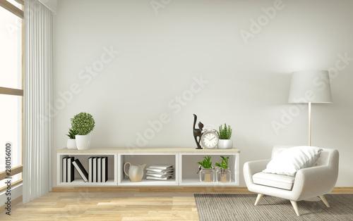 shelf tv in zen modern empty room, mock up minimal design, 3d rendering Tableau sur Toile
