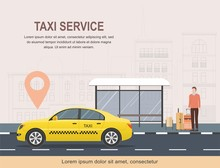 Taxi Service Template On Background Of City. Vector Illustration