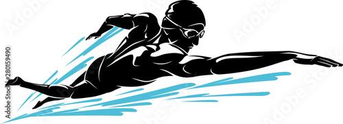 Cuadros en Lienzo Swim Front Crawl, Male Athlete