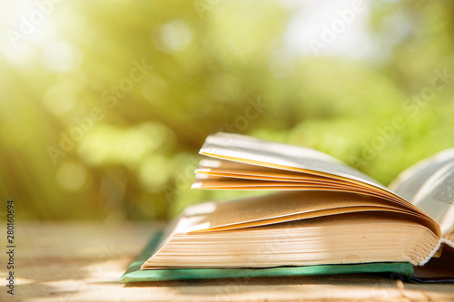 Open book on a wooden table in a garden. Sunny summer day, reading in a vacation concept - fototapety na wymiar