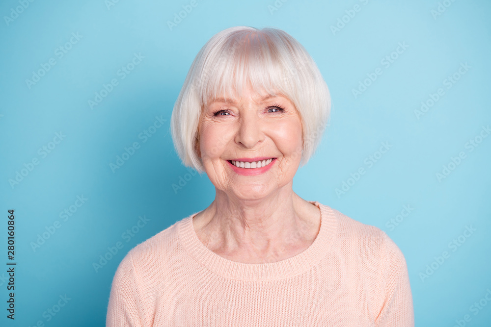 Leinwandbild Motiv - deagreez : Close-up portrait of her she nice-looking attractive well-groomed content confident cheerful cheery healthy gray-haired lady isolated over bright vivid shine blue green teal background