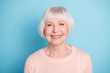 Close-up portrait of her she nice-looking attractive well-groomed content confident cheerful cheery healthy gray-haired lady isolated over bright vivid shine blue green teal background