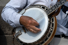 Street Artist Playing Banjo Musician Detail Of Hands