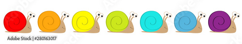 Snail icon set line. Insect isolated. Colorful shell house. Cute cartoon kawaii funny character. Big eyes. Smiling face. Flat design. Baby clip art. White background.