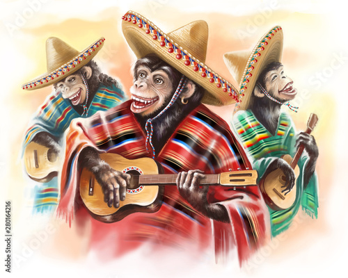 Photo  Funny monkeys in a Mexican traditional dress playing guitar