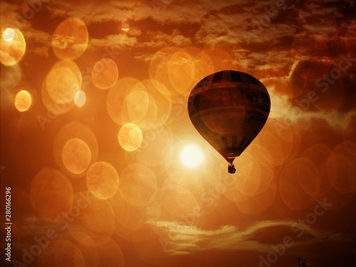 Tuinposter Ballon Stunning view of hot air balloon
