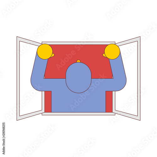 Papel de parede  Man in window isolated