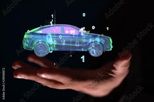 Obraz na plátně  digital car technology smart in virtuel room