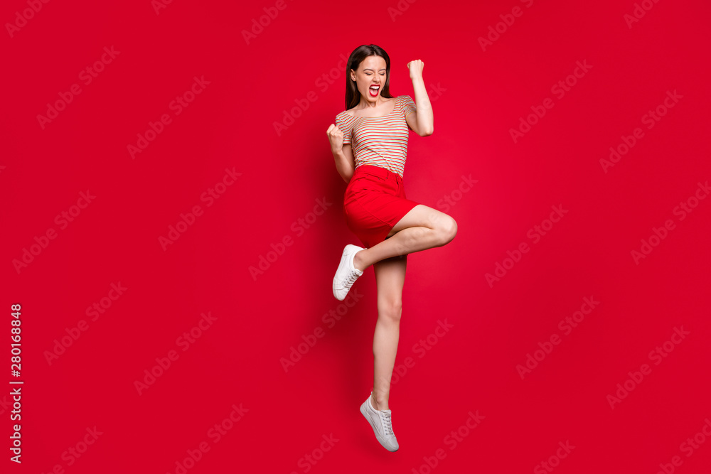 Fototapety, obrazy: Full length size body photo of emotional mad ecstatic charming lady making gesture with fists jumping up isolated bright background