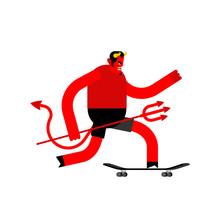 Devil On Skateboard. Satan On ...