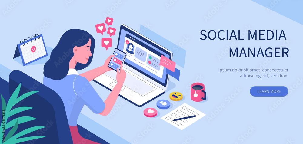 Fototapeta social media manager