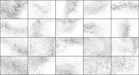 Set of Black Grainy Texture Isolated on White Background. Dust Overlay Textured. Dark Rough Noise Particles. Digitally Generated Image. Vector Design Elements, Illustration, EPS 10.
