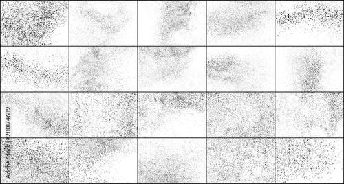 Canvastavla Set of Black Grainy Texture Isolated on White Background