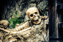 Remains Of Slaves Left Behind When Vesuvius Erupted, At The Roman Archaeological Site Of Herculaneum, Near Naples, Italy.