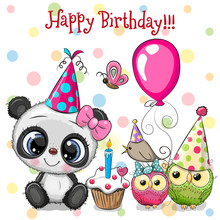 Cute Panda And Owls With Balloon And Bonnets