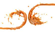 Liquid Sweet Melted Caramel, Delicious Caramel Sauce Or Maple Syrup Swirl 3D Splash. Yummy Sweet Caramel Sauce Or Hot Syrup Twisted. Key Visual Advertising Design Elements Isolated On White Background