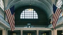 Flag In Ellis Island
