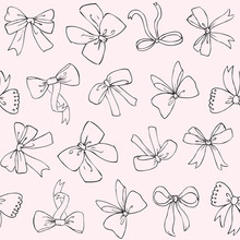 Seamless Vector Pattern With Bows On Pink Background. Hand Drawn Ribbons And Bows  Background.