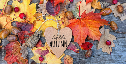 Foto auf Gartenposter Baume hello autumn. Autumn Background with heart greeting card and colourful leaves over wooden board. Thanksgiving wooden table decorated bright autumn leaves. Autumn season, fall backdrop