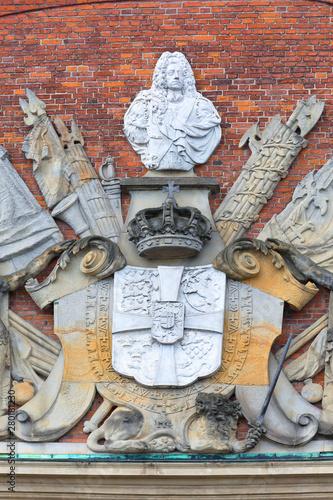 Photo Historical building of Ministry of Finance, relief of facade, Copenhagen, Denmar