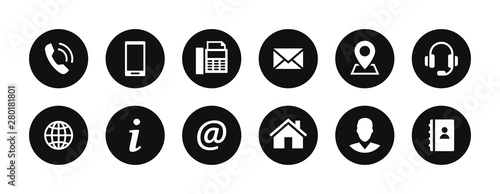 Cuadros en Lienzo Contact us icons set