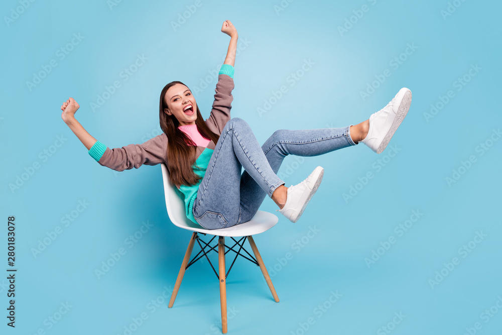 Fototapeta Full length body size photo of excited cheerful mad delightful emotional lady raising fists up having great mood isolated bright background
