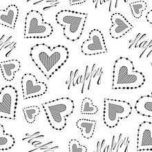 Seamless Pattern With Hearts And With The Inscription