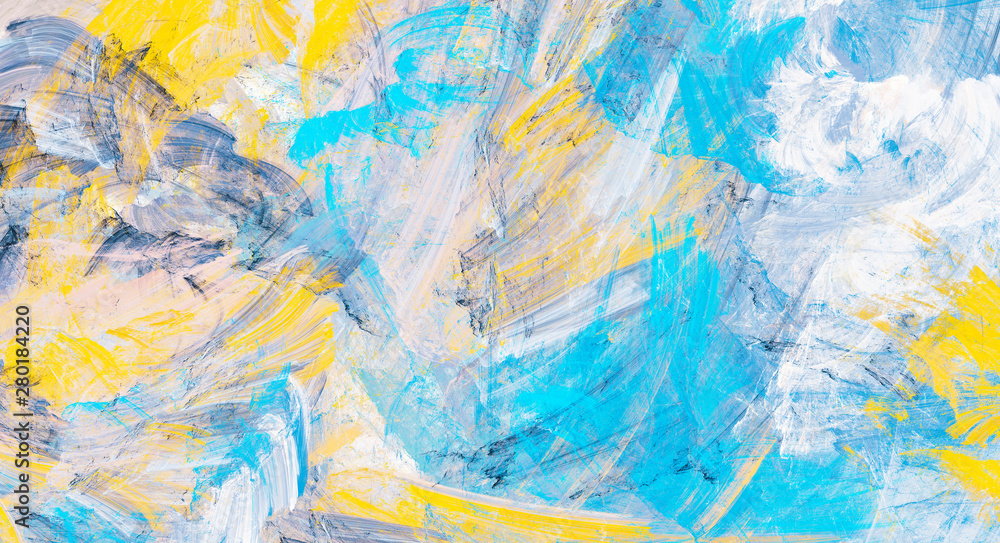 Fototapeta Abstract painting blue and yellow color texture. Modern fine pattern. Dynamic bright background. Fractal artwork for creative graphic design