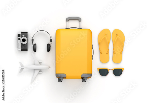 Stampa su Tela Yellow suitcase and travel accessories lay flat composition