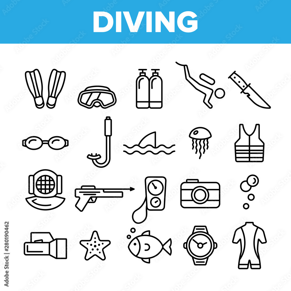 Fototapeta Scuba Diving Equipment Vector Linear Icons Set. Summer Vacation, Diving Water Sport Outline Cliparts. Active Sea Holiday Pictograms Collection. Extreme Activity, Snorkeling Thin Line Illustration