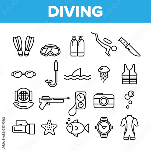 Fototapeta Scuba Diving Equipment Vector Linear Icons Set. Summer Vacation, Diving Water Sport Outline Cliparts. Active Sea Holiday Pictograms Collection. Extreme Activity, Snorkeling Thin Line Illustration obraz